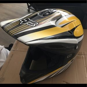 Fox racing black yellow motocross helmet men's L